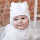 Шапка-шлем вязаная с ушками, размер 48-50, цвет  молочный