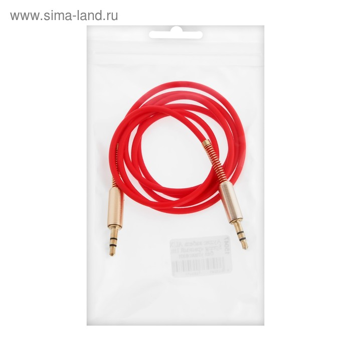 Кабель аудио AUX Spring, Jack 3.5 мм(m)-Jack 3.5 мм(m), 1 м, красный