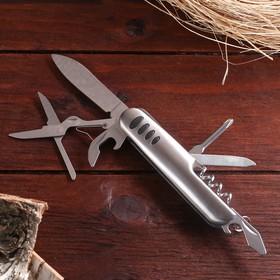 Нож швейцарский Мастер К. 7в1, на рукояти 4 вставки, хром Ош