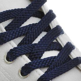 Шнурки для обуви плоские, 10 мм, 80 см, цвет тёмно-синий Ош
