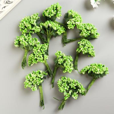 Букетик декоративных цветов 2см, зелёный - Фото 1