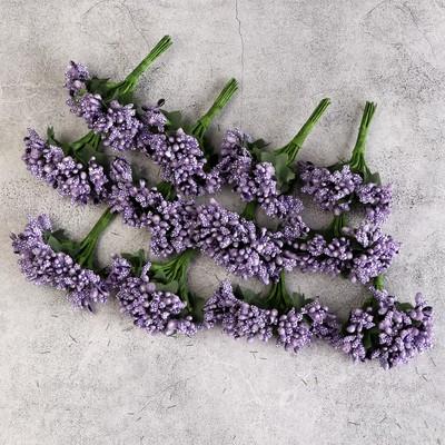 Букетик декоративных цветов 2см, фиолетовый - Фото 1
