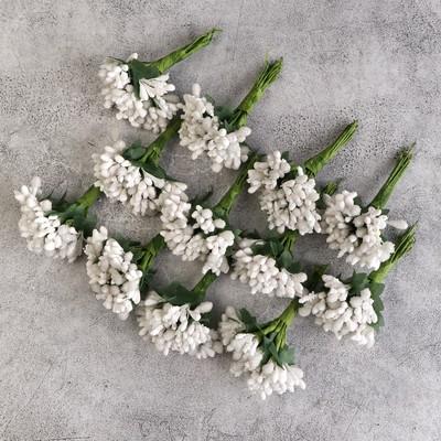 Букетик декоративных цветов 2см, белый - Фото 1