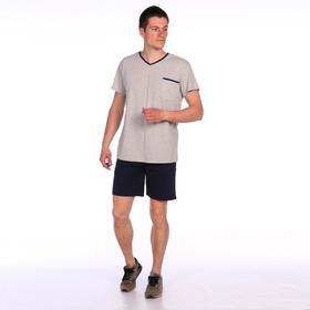 Костюм мужской (футболка, шорты), цвет серый, размер 46