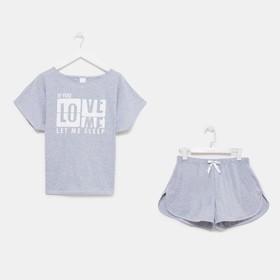 Пижама женская (футболка, шорты), цвет серый, размер 50