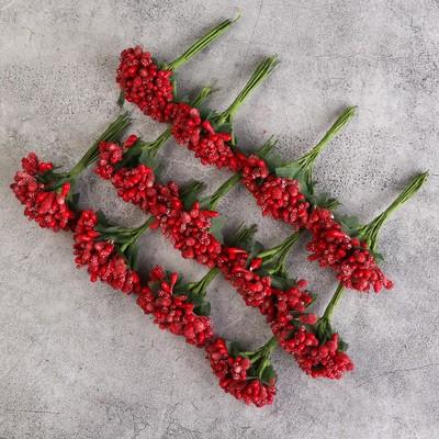 Букетик декоративных цветов 2см, красный - Фото 1