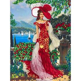 Набор для вышивки лентами «Дама в красном»