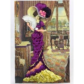 Набор для вышивки лентами «Дама с кофе»