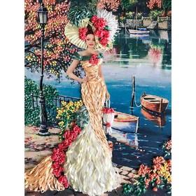 Набор для вышивки лентами «Дама с сумочкой»
