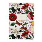 Тетрадь 40 листов в клетку «Пионы», обложка мелованный картон, ламинация Soft Touch, фольга, тонированный блок 70 г/м2