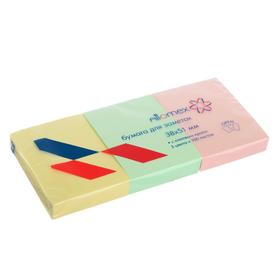 Набор блоков с липким краем 38 х 51мм, Pastel Attomex, 3 штуки х 100 листов, микс х 3 пастельных цвета