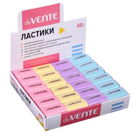 Ластик deVENTE Pastel, синтетика 22 х 18 х 10мм, прямоугольный, микс*4 цвета (штрих-код на каждом ластике)