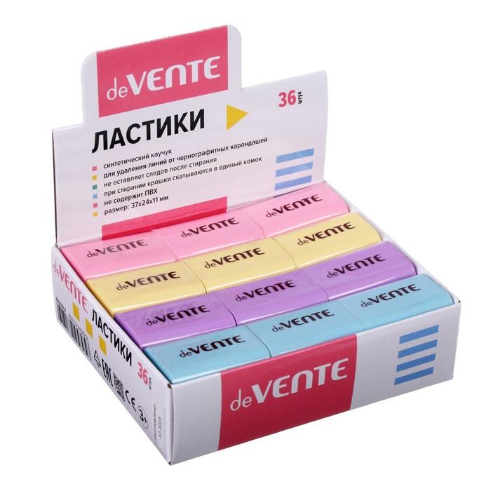 Ластик deVENTE Pastel, синтетика 37 х 24 х 11мм, прямоугольный, микс*4 цвета (штрих-код на каждом ластике)