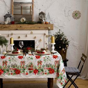 """Скатерть """"Этель"""" Christmas red flowers 149х110 см с ГМВО, 100% хл"""