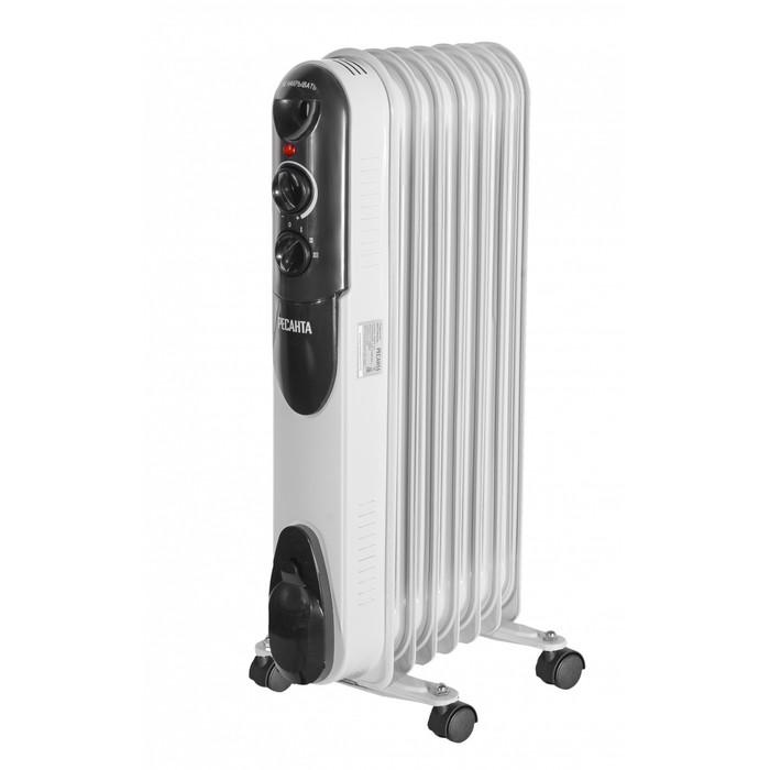 Обогреватель Ресанта ОМПТ-7Н, масляный, 1500 Вт, до 15 м2, 7 секций, терморегулятор, белый