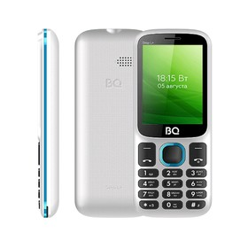 """Сотовый телефон BQ M-2440 Step L+ 2,4"""", 32Мб, microSD, 2 sim, бело-голубой"""