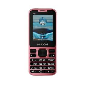 """Сотовый телефон MAXVI X11 2,4"""", 32Мб, microSD, 0,3Мп, 2 sim, розовое золото"""