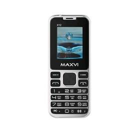 """Сотовый телефон MAXVI X12 1,77"""", 32Мб, microSD, 0,3Мп, 2 sim, серебристый"""