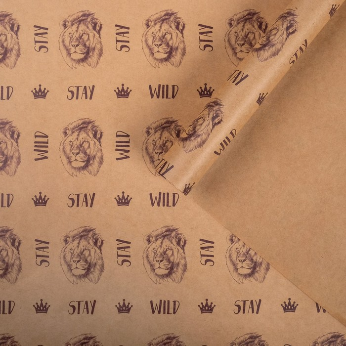 Бумага упаковочная крафтовая Лев 50х70 см