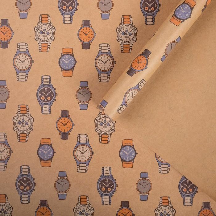 Бумага упаковочная крафтовая Часы 50х70 см