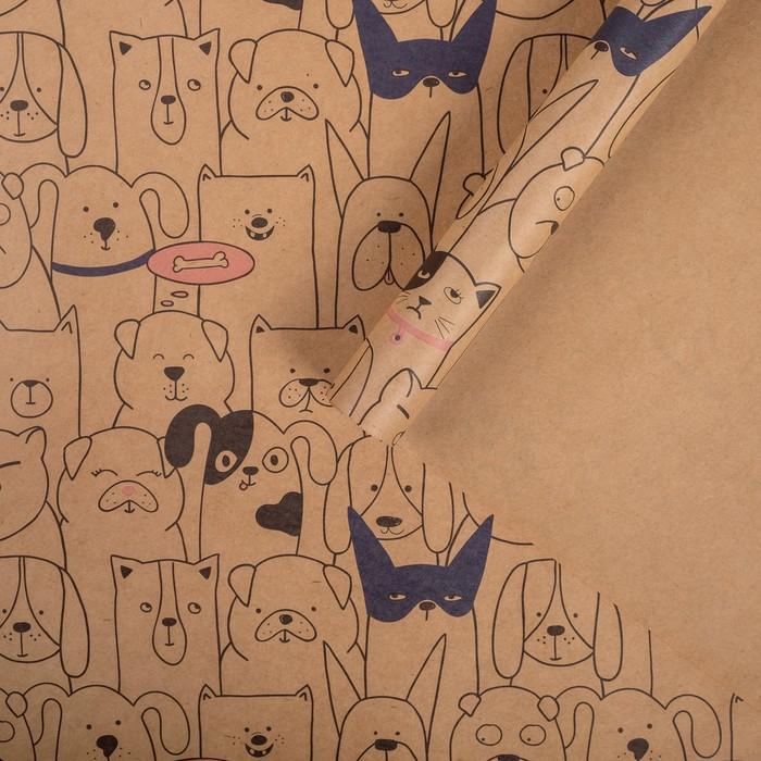Бумага упаковочная крафтовая Забавные персонажи 50х70 см