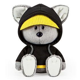 Мягкая игрушка «Волчонок Вока в черной толстовке с капюшоном», 15 см