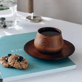 Чайная пара из натурального кедра Magistro, чашка 150 мл, блюдце: 15,5×2 см, цвет шоколадный