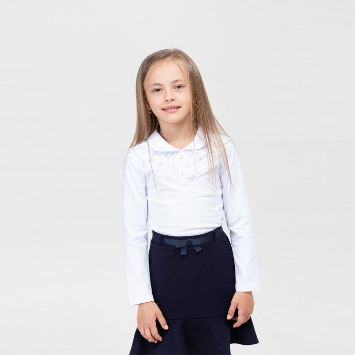 Школьная блузка для девочки, цвет белый, рост 140