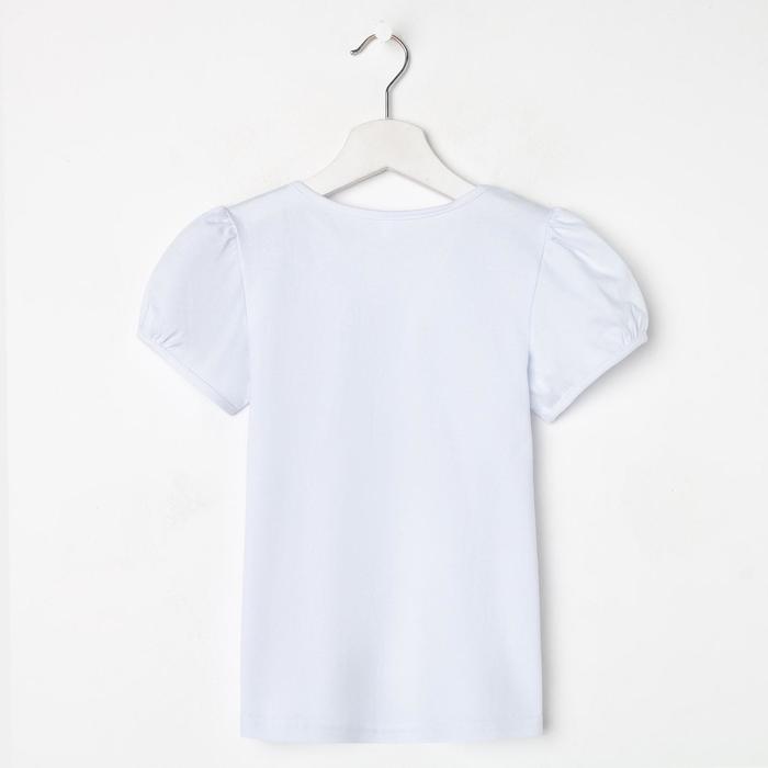 Школьная блузка для девочки, цвет белый, рост 128 см