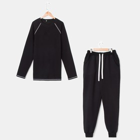 Костюм мужской (джемпер, брюки), цвет чёрный, размер 46