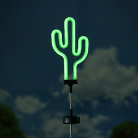 """Садовый светильник ЭРА, """"Кактус"""", неоновый, на солнечной батарее"""