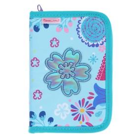 Пенал 1 секция, откидные 2 планки, 140 х 200, ткань, Belmil, для девочки, Flower Mania, голубой