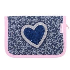 Пенал 1 секция, откидные 2 планки, 140 х 200, ткань, Belmil, для девочки, Love, синий