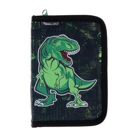 Пенал 1 секция откидные 2 планки 140*200 ткань Belmil 335-72 мал World of Dino чёрный/зел