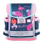 Ранец на замке Belmil Classy 36 х 32 х 19, для девочки, Flamingo Paradise, синий/розовый