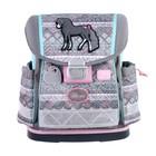 Ранец на замке Belmil Classy 36 х 32 х 19, для девочки, Horse, серый