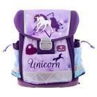 Ранец на замке Belmil Classy 36 х 32 х 19, для девочки, Unicorn, сиреневый