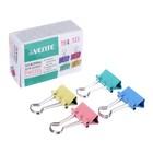 Зажимы для бумаг 19 мм, 12 штук, deVENTE, металлические, микс х 4 цвета, картонная коробка