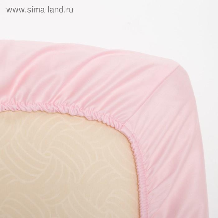 Простыня овальная на резинке «Крошка Я» 75х120+20 см, цвет розовый, мако-сатин