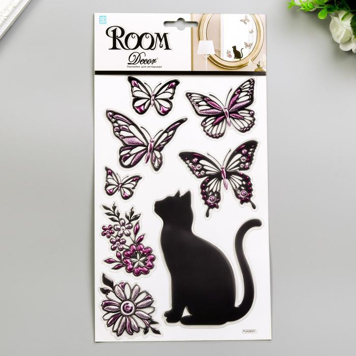 """3D Наклейки Room Decor """"Кошечка с бабочками"""" 25х16 см"""
