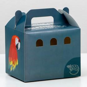 Переноска 'Пижон' для птиц и грызунов, картонная, графит, маленькая, 12,5 х 10 х 10 см Ош