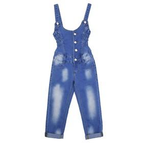 Комбинезон джинсовый для девочек, рост 92 см