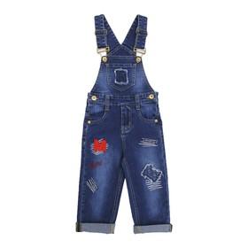 Комбинезон джинсовый для мальчиков, рост 80