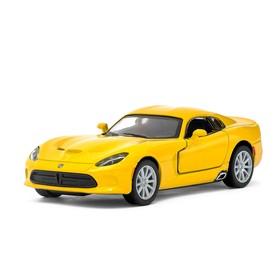 Машина металлическая SRT Viper GTS, 1:36, открываются двери, инерция, цвет жёлтый