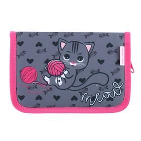 Пенал 1 секция, откидные 2 планки, 140 х 200, ткань, Belmil, для девочки, I love cat, чёрный/розовый