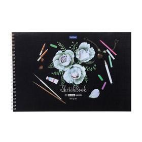 Альбом для рисования А4, 20 листов на гребне SketchBook «Нежные цветы», жёсткая подложка, блок чёрная бумага, 160 г/м2
