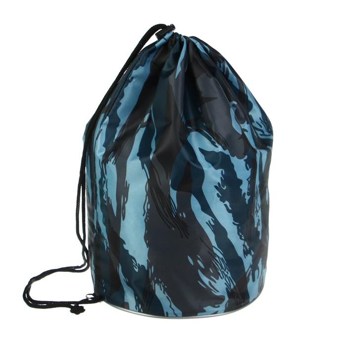 Мешок для обуви Стандарт круглое дно 360 х 220 мм, Calligrata, Камуфляж синий