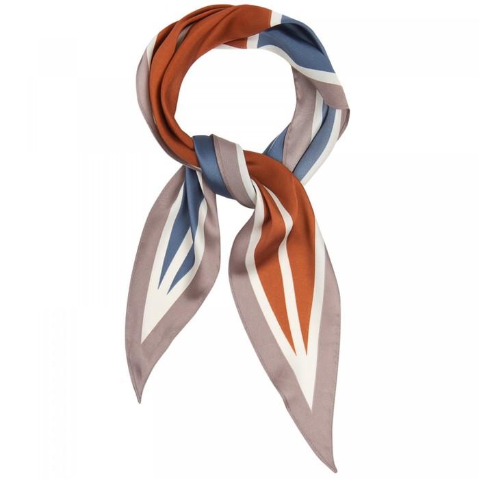 Шарф женский текстильный, цвет коричневыйсиний, размер 33х115