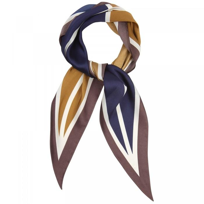 Шарф женский текстильный, цвет синийзолотой, размер 33х115