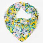 Платок женский текстильный, цвет жёлтый/цветы, размер 70х70